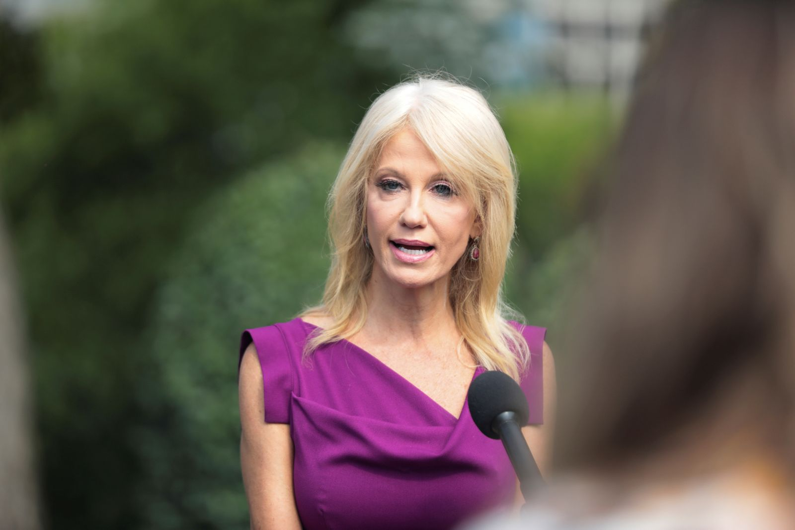 FILE PHOTO: White House adviser Kellyanne Conway speaks to reporters at the White House in Washington