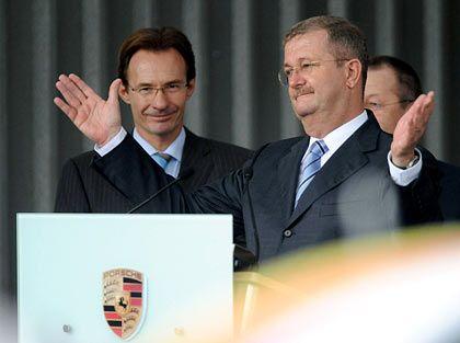 Wiedking-Abschied (mit nachfolger Michael Macht, links): Von der Belegschaft unterstützt
