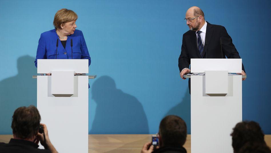 Angela Merkel und Martin Schulz stellen das Sondierungsergebnis vor