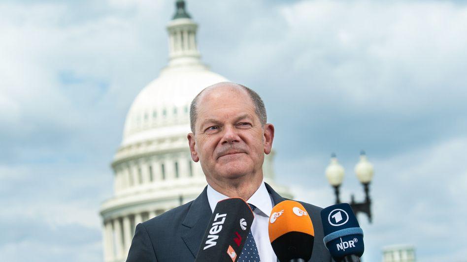 """""""Kolossaler Fortschritt"""": Finanzminister Olaf Scholz am Donnerstag in Washington"""