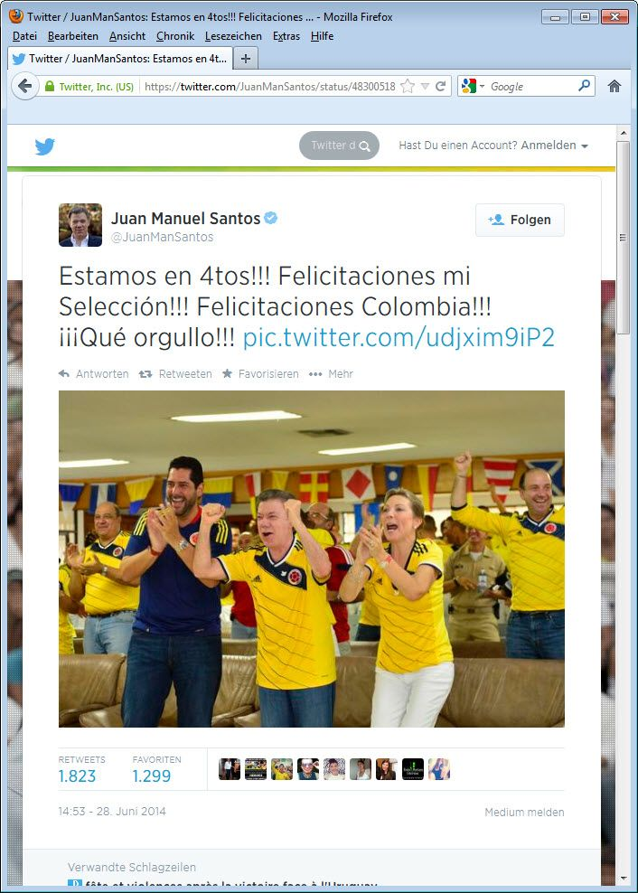 SCREENSHOT Juan Manuel Santos; WM; Twitter