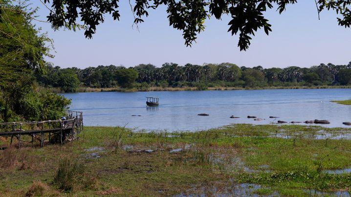 Blick von der Mvuu Lodge: Nilpferde und Krododile fühlen sich in der Lagune besonders wohl