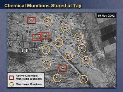 Eine Übersicht über die gesamte Anlage von Taji. Von den 15 Bunkern sollen noch vier in Betrieb sein.