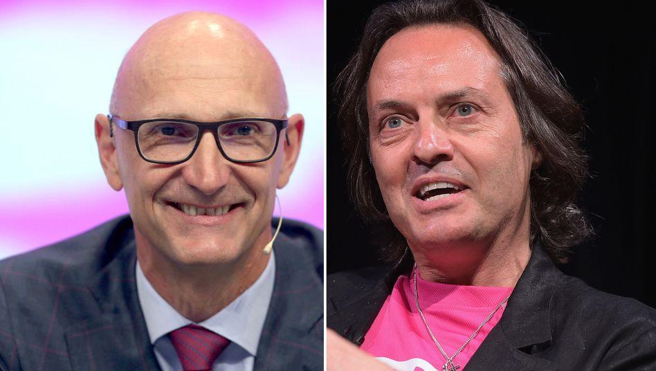 Deutsche-Telekom-Chef Tim Höttges (l.) und John Legere, Chef der Tochter T-Mobile US