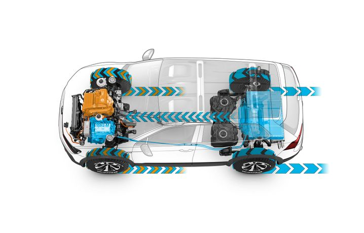 Antriebsstrang des Volkswagen Tiguan GTE Active Concept