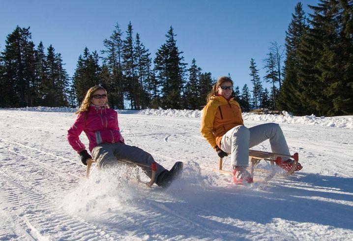 Das Wintersportgebiet am 1456 Meter hohen Großen Arber bietet auch für Rodler viele Möglichkeiten. Und auch bei Bischofsmais lässt sich prima rodeln.