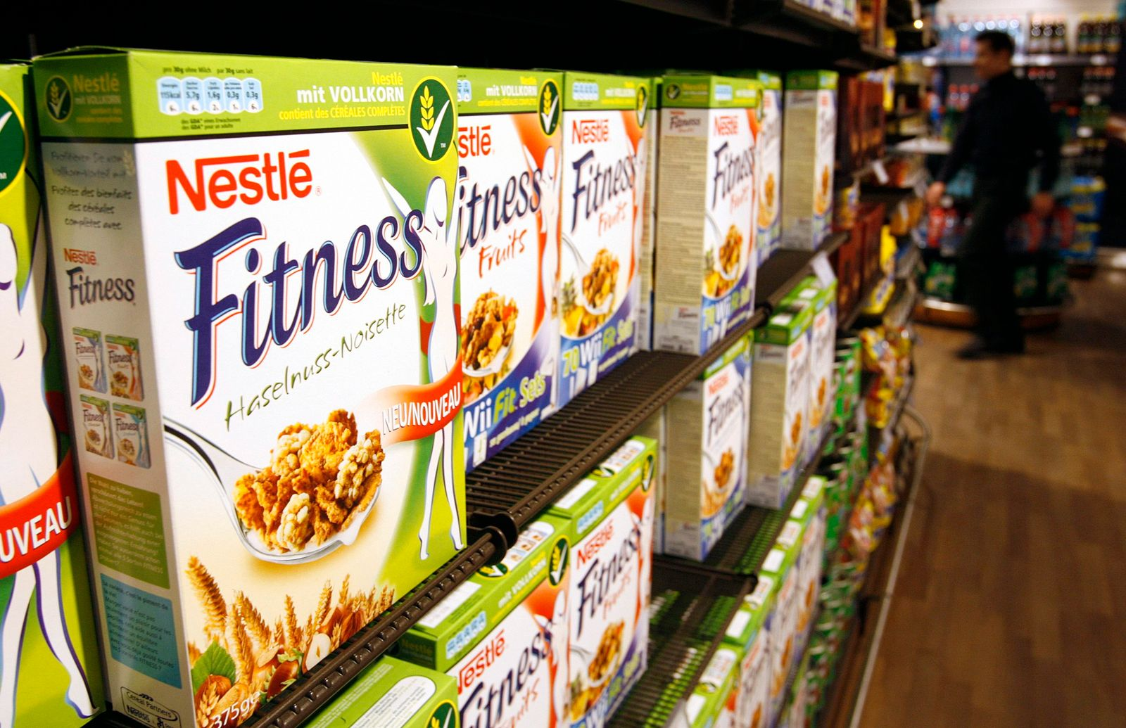 Cereal boxes are pictured in the employees' supermarket at the Nestle headquarters in Vevey