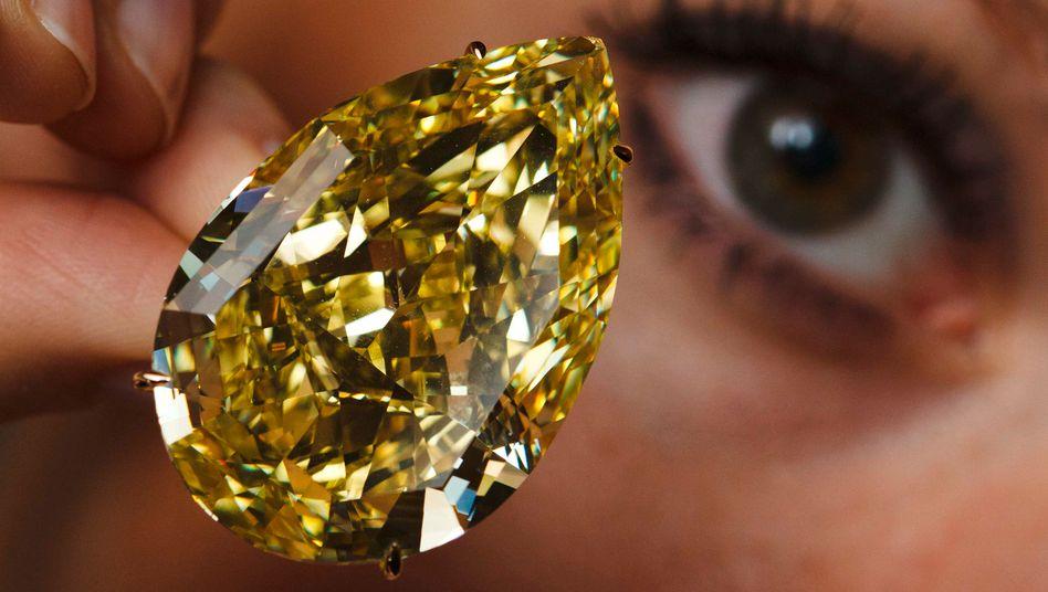 """""""Sun-Drop"""": Der gelbe Diamant mit 110 Karat wurde kürzlich für rund acht Millionen Euro versteigert"""