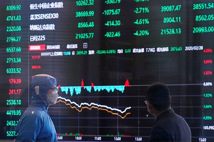 Alles im minus: Heute an der Börse in Shanghai.