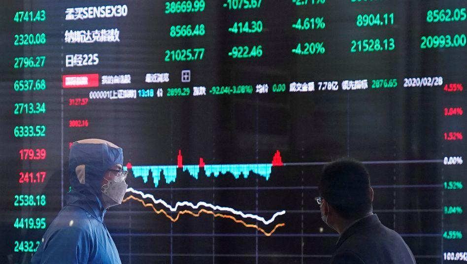 Mundschutz im Aktienhandel: Die Börsen befinden sich fest im Griff der Corona-Krise.