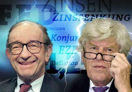 Eine Frage der Haltung: Alan Greenspan (links) fährt volles Risiko, während Wim Duisenberg sein Pulver trocken hält