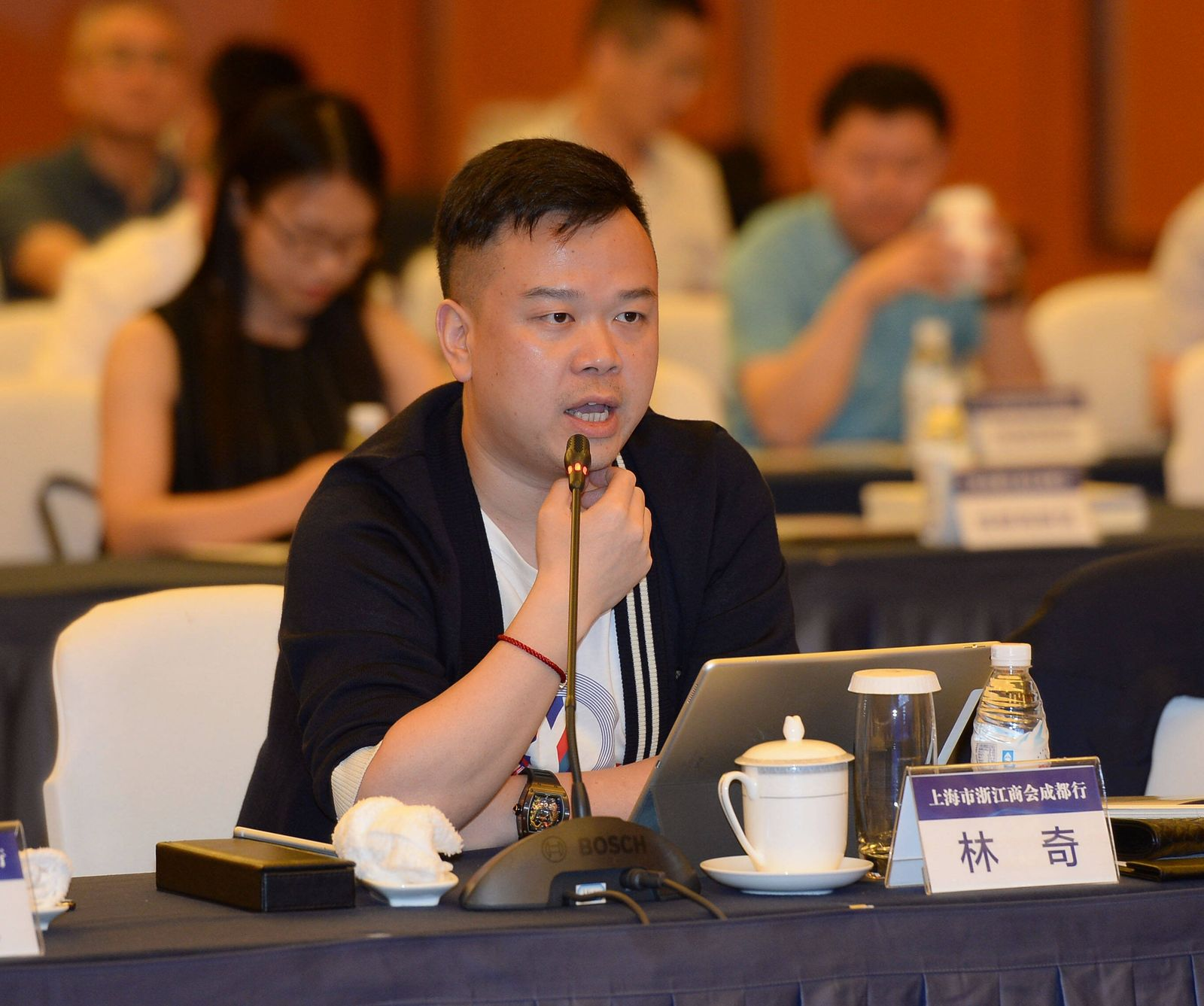 CHENGDU, CHINA - MAY 25: Lin Qi, Chairman and CEO of Yoozoo Games Co., Ltd, speaks during a meeting on May 25, 2018 in C