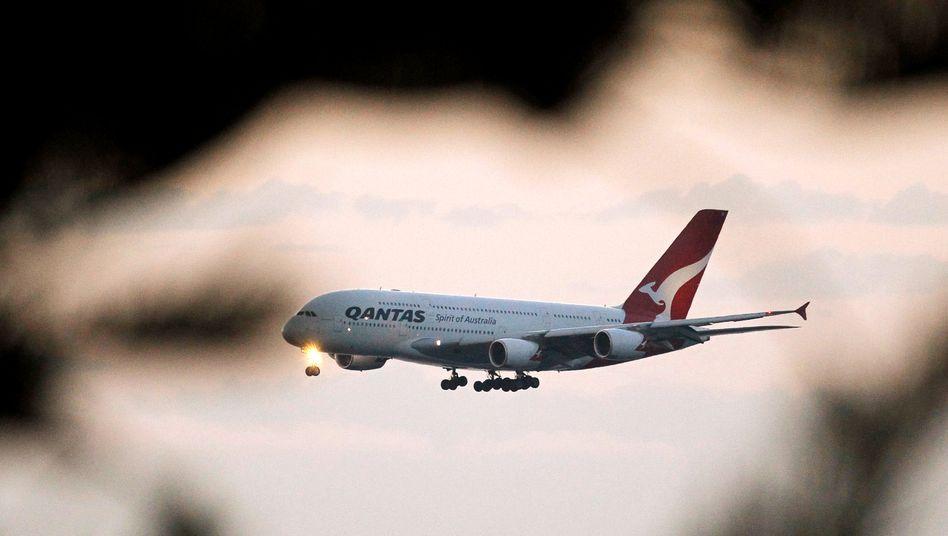 A380 von Qantas: Die australische Airline will bald nonstop von London und New York nach Australien fliegen.