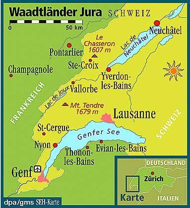 Im äußersten Südwesten der Schweiz: Die Berge des Waadtländer Jura sind von Genf, Nyon und Yverdon-les-Bains aus zu erreichen