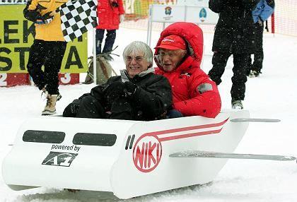 Spaßvögel: Bernie Ecclestone und Niki Lauda