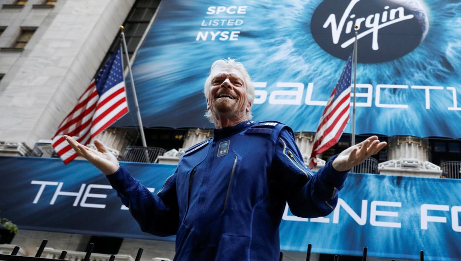 Richard Branson vor dem Börsengang seiner Virgin Galactic an der New Yorker Wall Street am 28. Oktober 2019