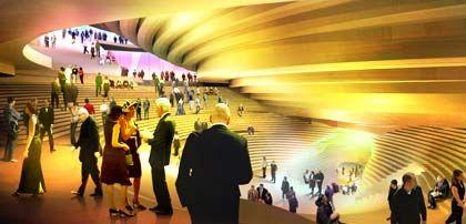Die Wände sind von den Treppen kaum zu unterscheiden: Das Foyer der Elbphilharmonie