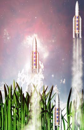 Fiktion: Raketen, kaum größer als ein Daumen, starten auf der grünen Wiese und werden von Nanoantrieben bis ins Weltall katapultiert.