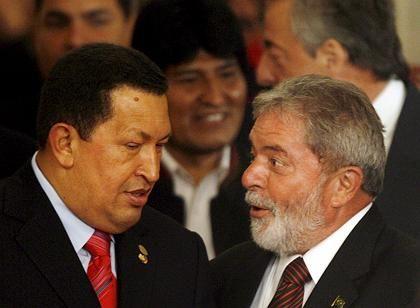 """""""Fortsetzung des Unabhängigkeitskampfes"""": Die Präsidenten (v. l.) Chávez (Venezuela), Morales (Bolivien) und Lula (Brasilien)"""