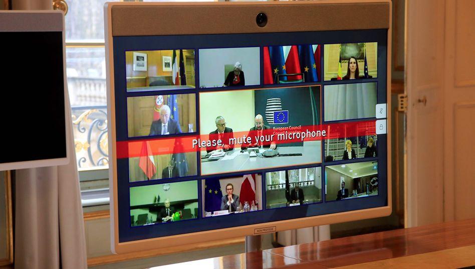 EU-Gipfel per Video: Auch Spitzenpolitiker treffen sich während der Corona-Krise lediglich virtuell.