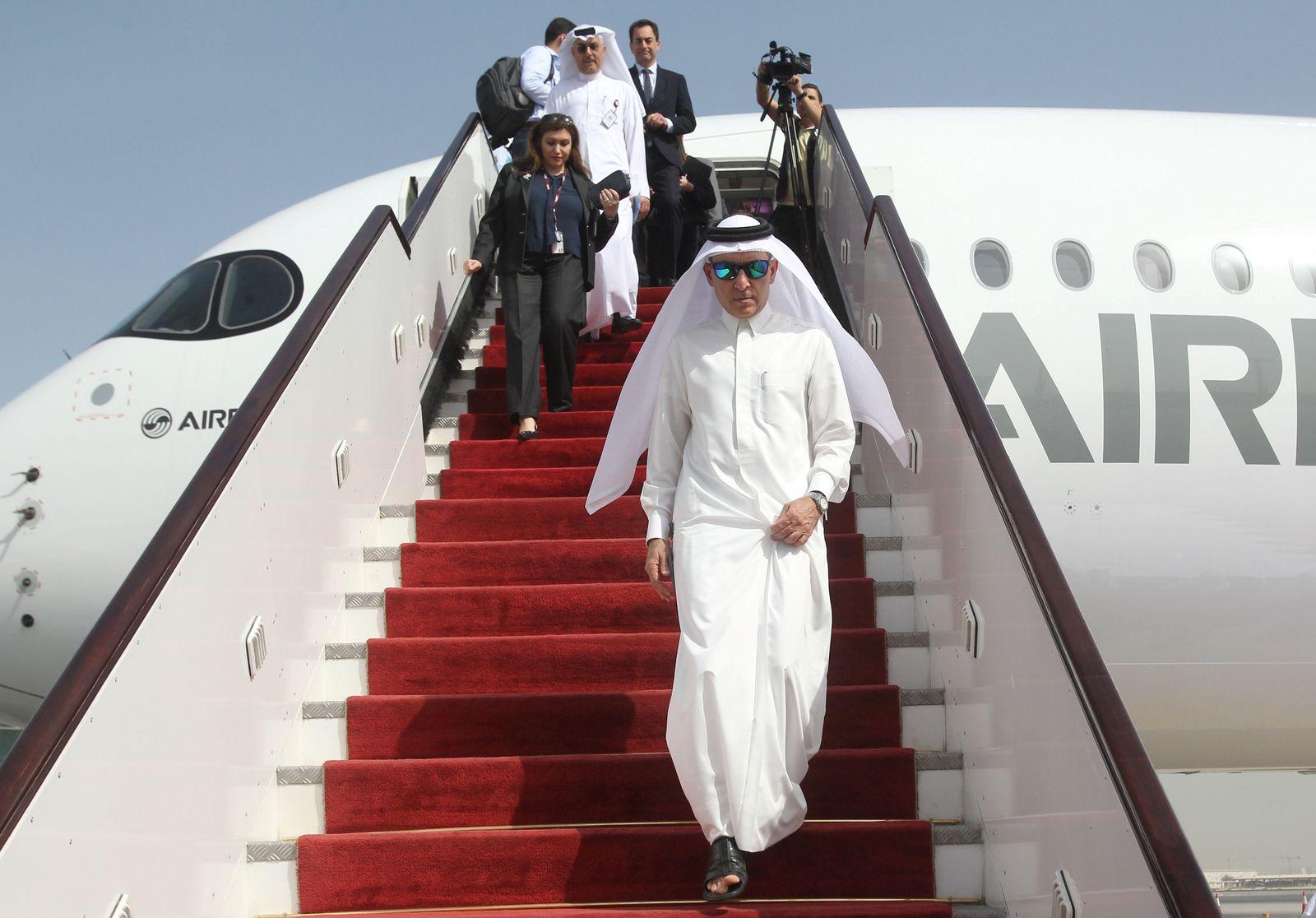 CEO of Qatar Airways Akbar Al Baker gets off an Airbus A350-1000 in Doha