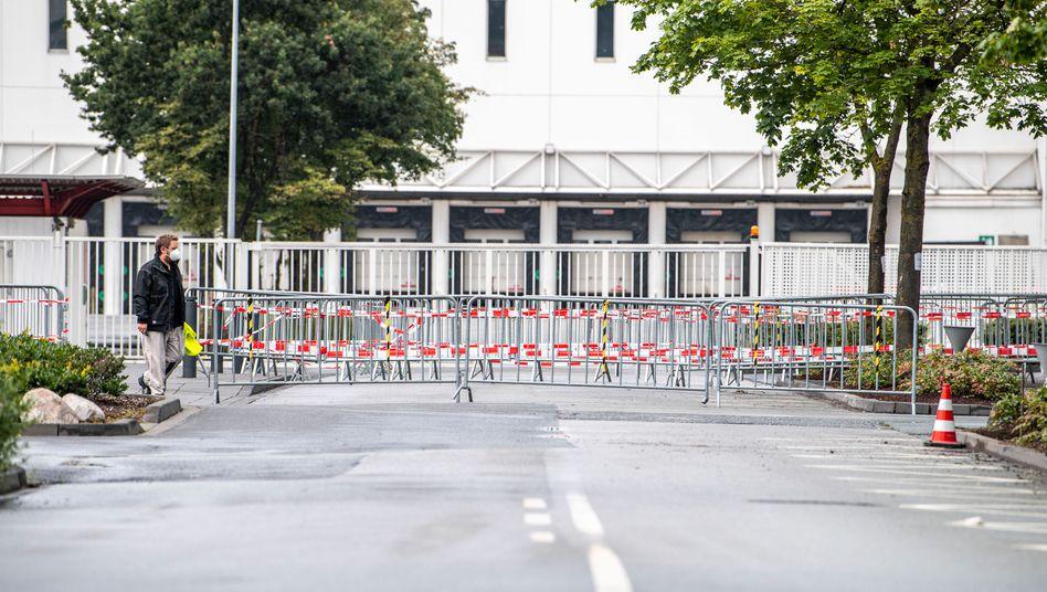 Abgesperrtes Tönnies-Werk in Rheda-Wiedenbrück