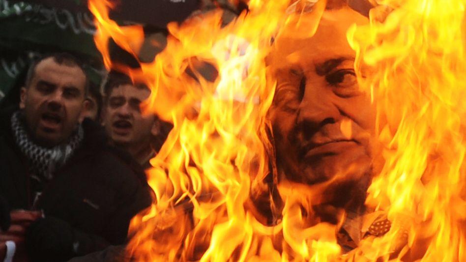 Wut gegen Mubarak: Demonstranten verbrennen ein Plakat des verhassten ägyptischen Staatschefs