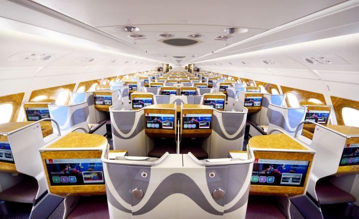 So sieht die Business Class von Emirates im A380 aus