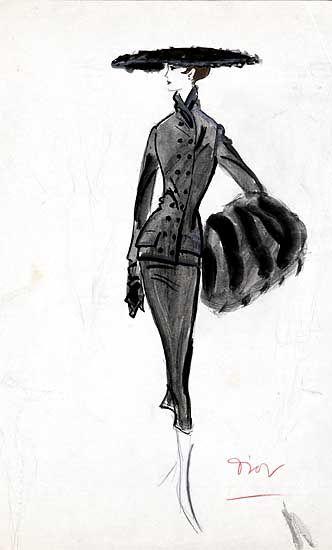 Entwurf: Ein Walter Voigt Kostüm von Christian Dior - Herbst/Winter 1954/55