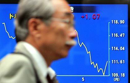 Es geht bergab: Yen-Notierung an der Börse in Tokio