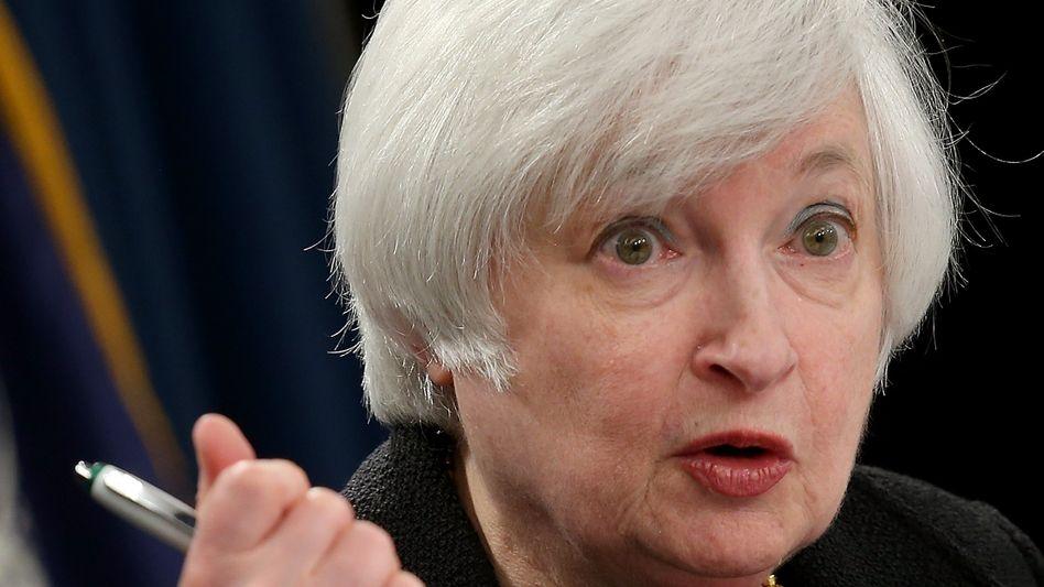 Raum für Notizen: Janet Yellen am Donnerstag auf der Pressekonferenz nach der Entscheidung, die Zinsen unverändert zu lassen.