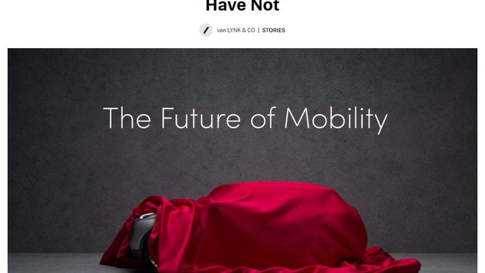 Screenshot der Website Tictail.com: Mit viel rotem Tuch preist Lynk & Co dort den Start seiner Marke an