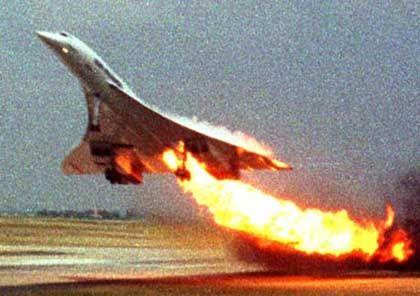 Die Concorde kurz vor dem Absturz