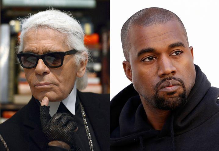 Würden Sie diesen Herren gerne Ihr Herz ausschütten? Karl Lagerfeld (links) und Kanye West zeigen: Schwarz schafft Distanz