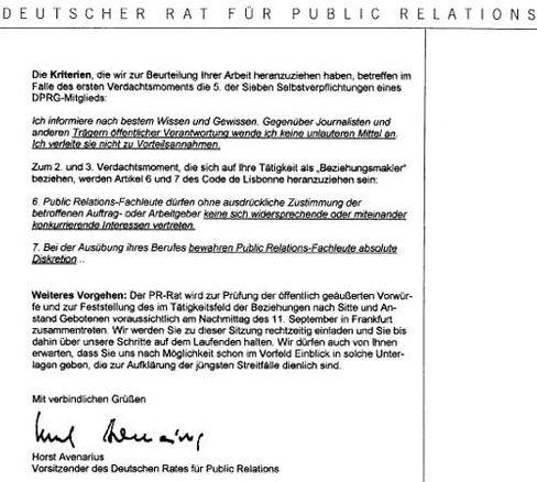 Der Brief des PR-Rates an Hunzinger, Seite 2