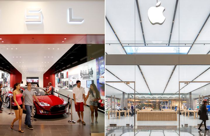 Ladengeschäfte von Tesla und Apple: Das klare Design zeigt, dass hier etwas Edles verkauft wird