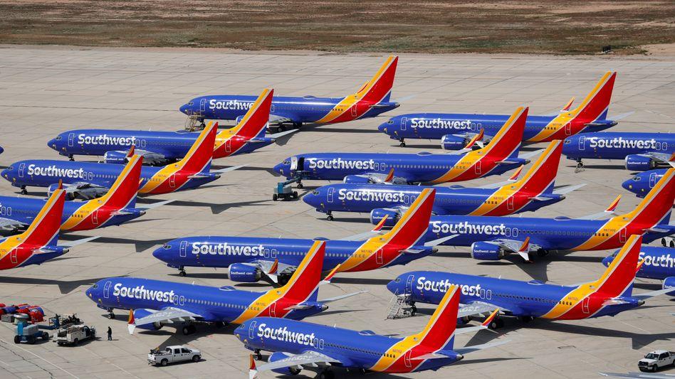 Vorläufig stillgelegte Maschinen vom Typ Boeing 737 max