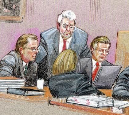 Zeichnung aus dem Enron-Prozess:Ex-Enron-CEO Jeffrey Skilling (l.) mit seinen Verteidigern