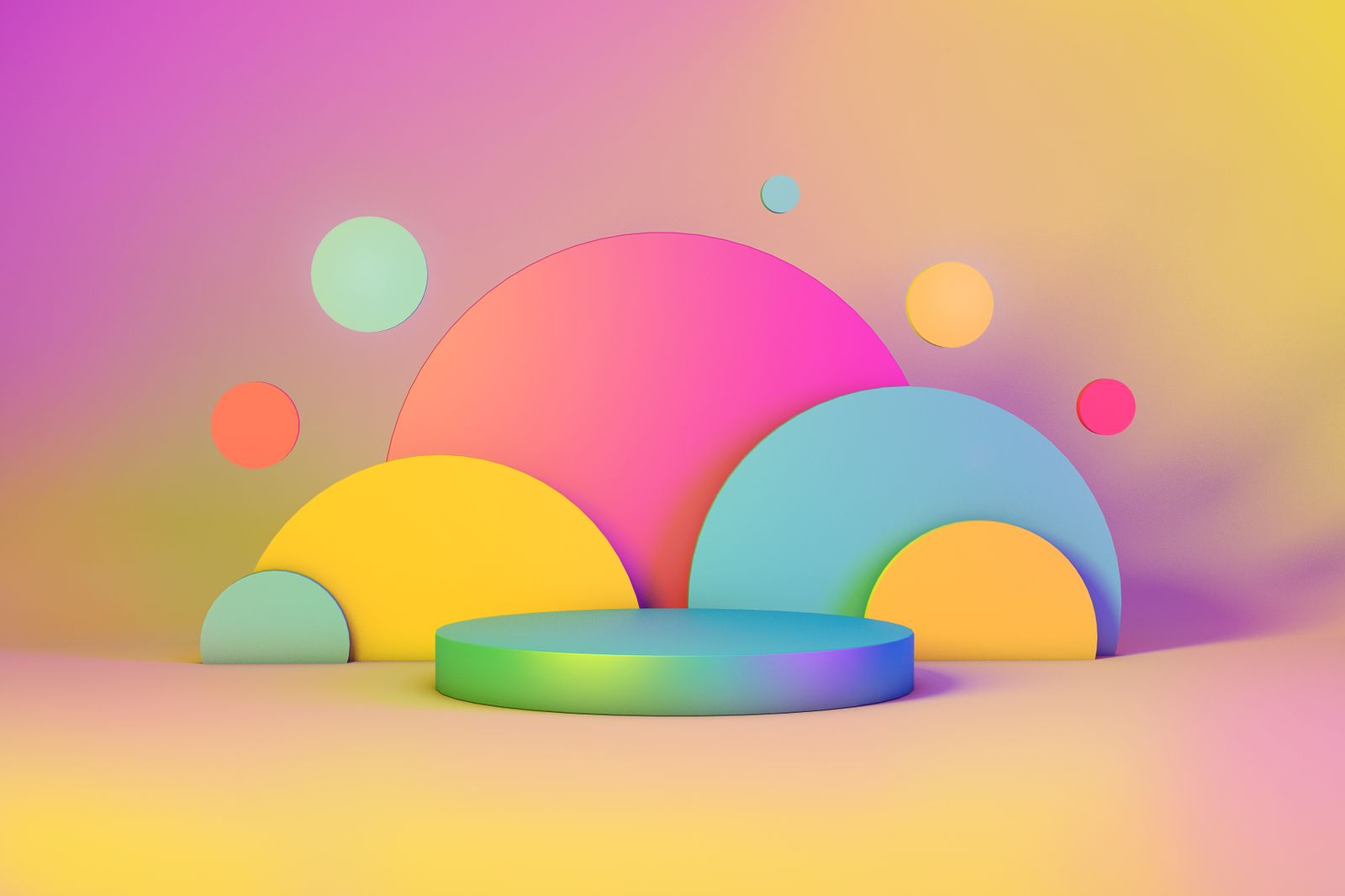 Abstract Geometric 3D Rendering Circle Cylinder Background. Minimalism Vibrant Still Life Style