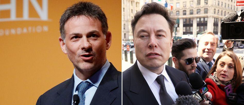 Im Pferdeäpfel-Streit: Hedgefonds-Manager Einhorn (l.), Tesla-Chef Musk