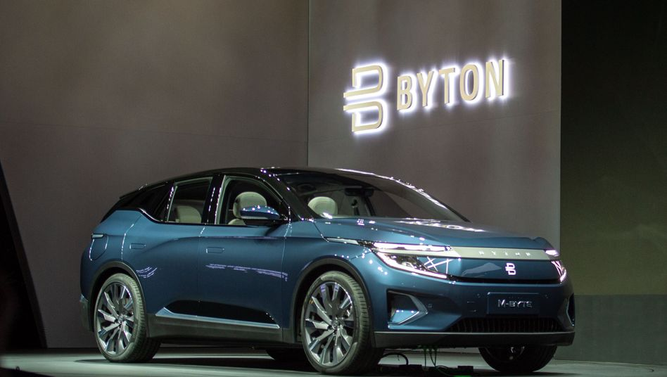 Die Serienversion des SUV-Modells M-Byte des Elektroauto-Herstellers Byton bei der Technik-Messe CES