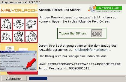"""Fast schneller, als man reagieren kann: Die Eingabe des """"K"""" von """"OK"""" löst Dialer-Download und Installationsprozess aus"""