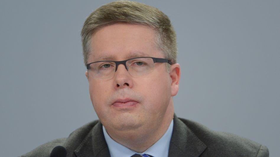 Thorsten Strauß, Kommunikationschef der Deutschen Bank, auf der Bilanzpressekonferenz des Unternehmens am 29. Januar 2014.