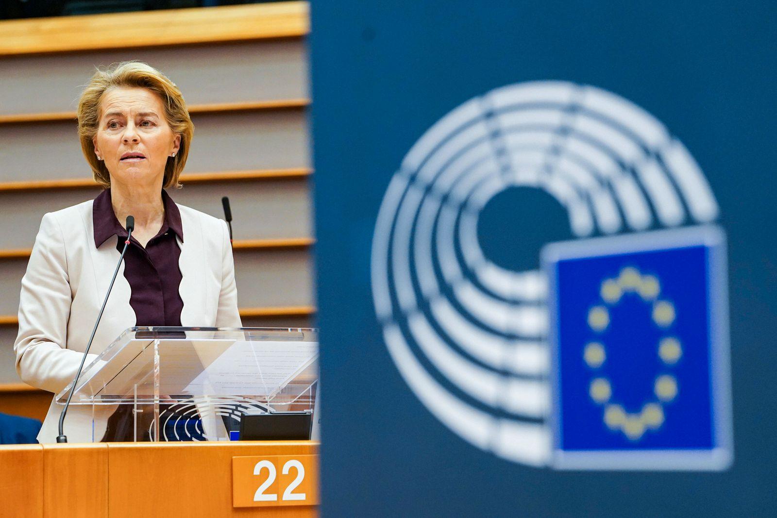 (200724) -- BRUSSELS, July 24, 2020 -- European Commission President Ursula von der Leyen makes a statement at an extra