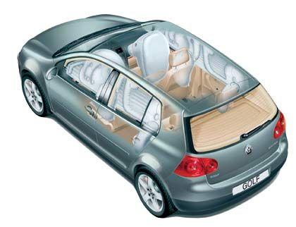 Knappes Dutzend: Dominierende Frontairbags und ergänzende Seiten- und Kopfairbags vorne und hinten