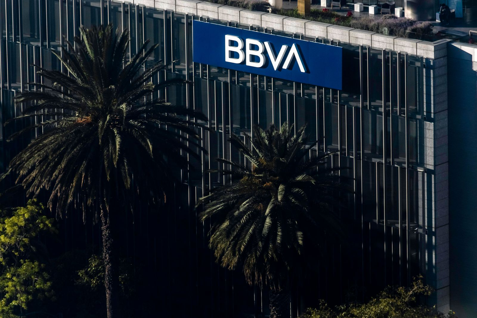 Mexico City, Mexico December 15, 2020 - View of the Mexican capital from a rooftop in the Reforma district - The BBVA ba