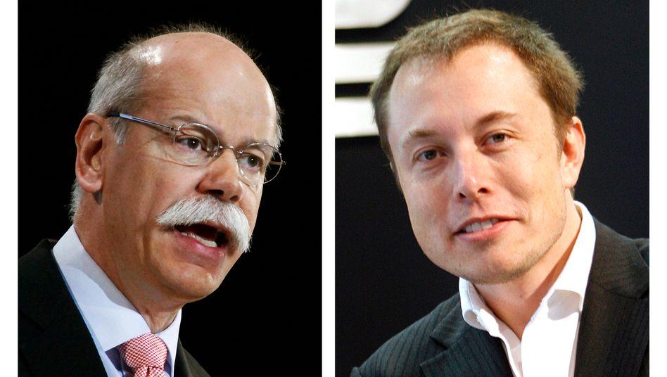 """Zetsche, Musk (v.l.): """"Die Partnerschaft mit Tesla ist sehr erfolgreich und wird auch künftig fortgesetzt"""", sagte der Daimler-Chef"""