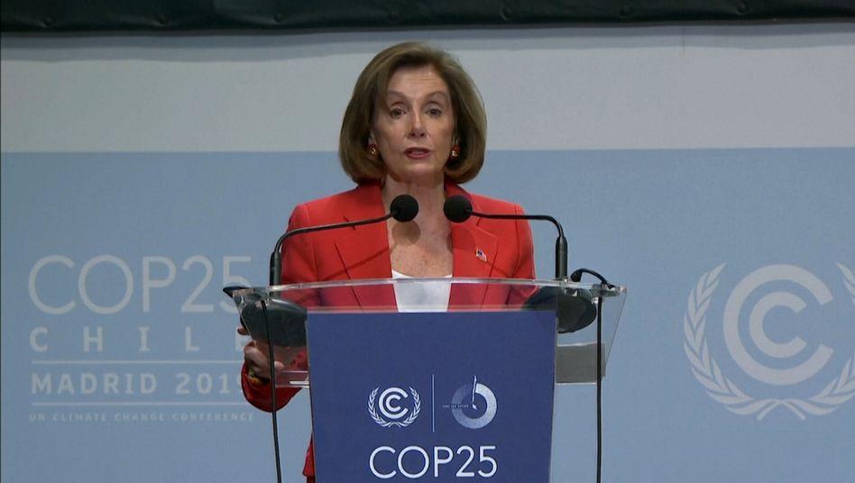 """US-Demokratin Nancy Pelosi in Madrid: """"Die USA sind beim Klimaschutz noch dabei"""""""