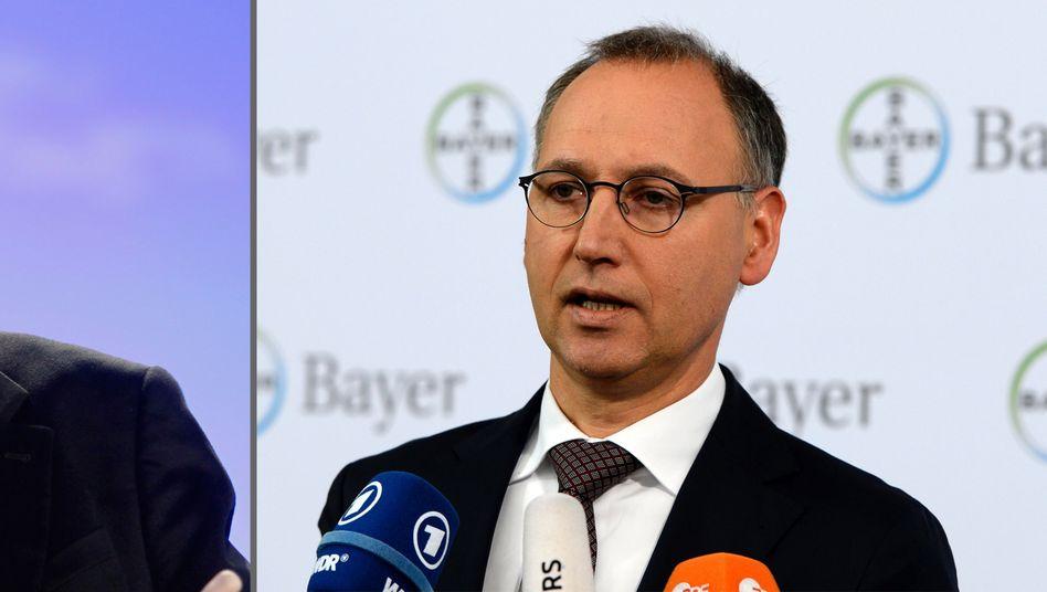 Monsanto-Chef Hugh Grant (links): Bayer-Chef Werner Baumann (rechts) erhöht schrittweise den Druck