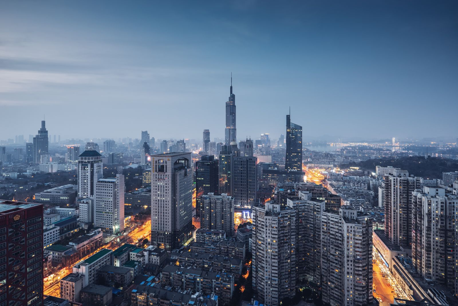 A panoramic view of the nanjing city skyline